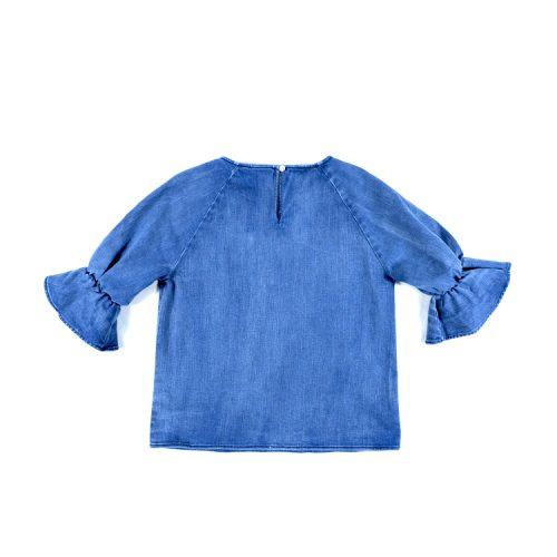 Denim Ruffle Short-Sleeve Top